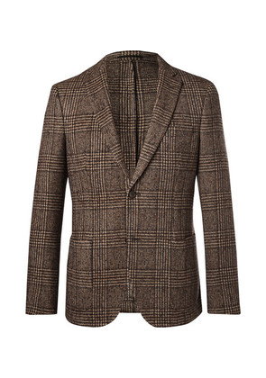 Brown Prince Of Wales Checked Wool Blazer