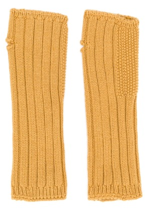 Holland & Holland cashmere knited mittens - Yellow & Orange