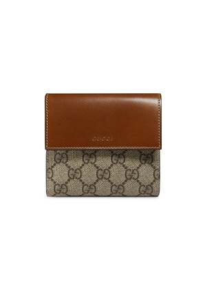 Gucci GG Supreme French flap wallet - Brown
