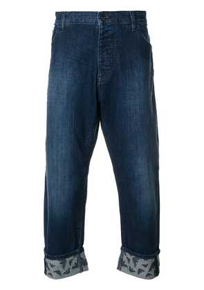 Emporio Armani cropped turn-up jeans - Blue