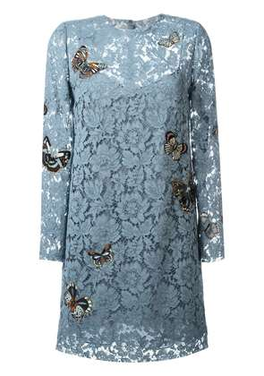 Valentino 'Japanese Butterfly' embroidered heavy lace dress - Blue