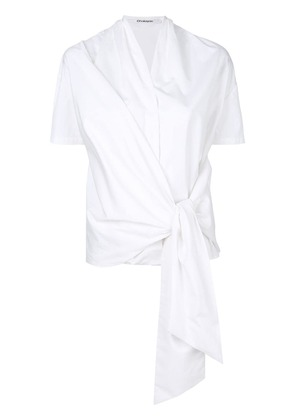 Chalayan wrapped V-neck top - White