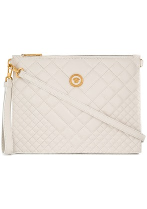 Versace embossed square clutch bag - White