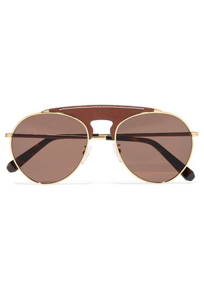 Loewe - Pilot Aviator-style Gold-tone And Textured-leather Sunglasses - Brown