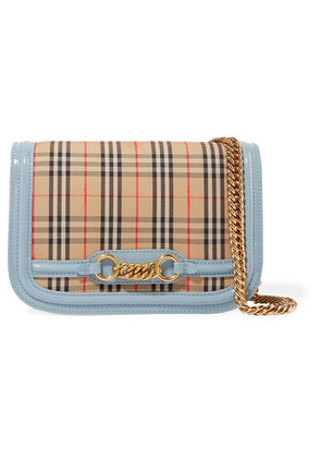 Burberry - Patent Leather-trimmed Checked Canvas Shoulder Bag - Light blue