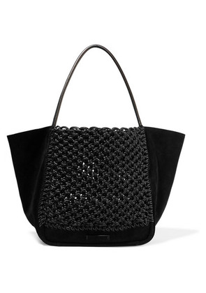 Proenza Schouler - L Crocheted Leather And Suede Tote - Black