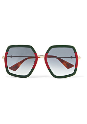 Gucci - Oversized Square-frame Metal Sunglasses - Green
