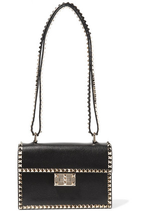 Valentino - Valentino Garavani The Rockstud No Limit Textured-leather Shoulder Bag - Black