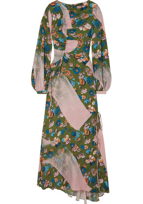 House of Holland - Floral-print Crepe De Chine Maxi Dress - Army green