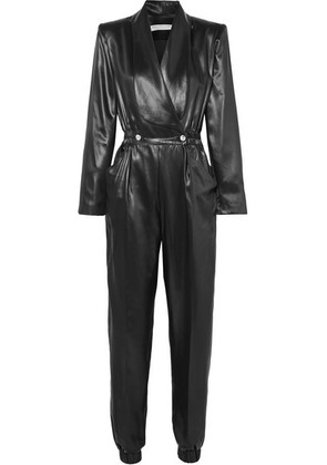 Philosophy di Lorenzo Serafini - Double-breasted Faux Leather Jumpsuit - Black