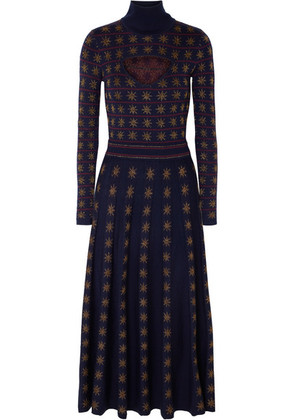 Temperley London - Night Cutout Metallic Intarsia Wool-blend Midi Dress - Navy