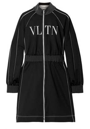 Valentino - Silk Crepe-trimmed Printed Jersey Mini Dress - Black