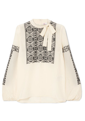 REDValentino - Pussy-bow Embroidered Silk Blouse - Cream