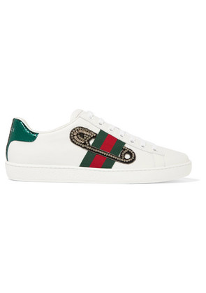 Gucci - Ace Watersnake-trimmed Embellished Leather Sneakers - White