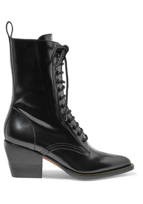 Chloé - Rylee Glossed-leather Ankle Boots - Black