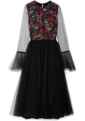 Carolina Herrera - Embellished Stretch-tulle Midi Dress - Black