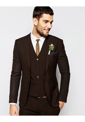 ASOS Wedding Super Skinny Suit Jacket In Brown - Brown