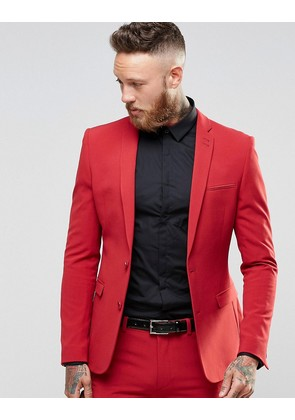 ASOS Super Skinny Fit Suit Jacket In Red - Red
