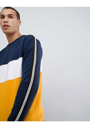 New Look sweat with colourblock in yellow - Mid yellow