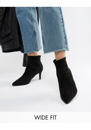 New Look Wide Fit Suedette Pointed Heeled Sock Boot - Black