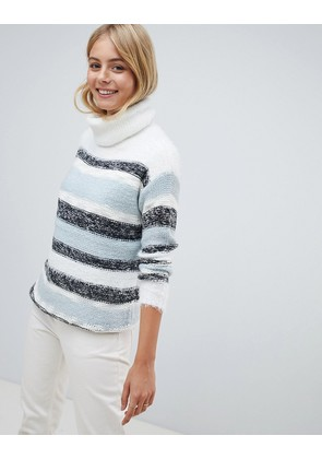 Brave Soul Frogal Stripe Jumper - Pale blue