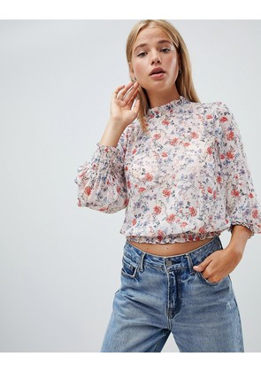 New Look metallic floral blouse - Light pink floral