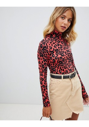 New Look Leopard Print Roll Neck Top - Red pattern