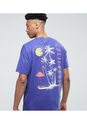 ASOS TALL Super Oversized T-Shirt with Palm Back Print in Purple - Peacock