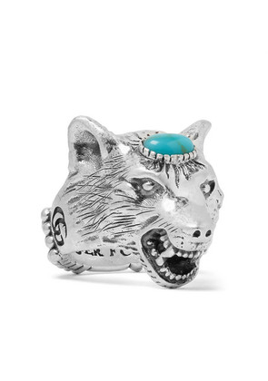 Wolf's Head Silver-tone Turquoise Ring