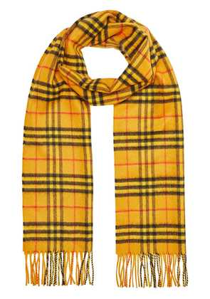 Burberry The Classic Vintage Check Cashmere Scarf - Yellow & Orange