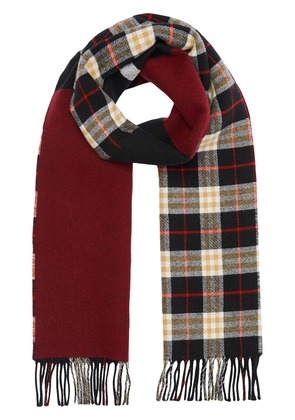 Burberry Reversible Stripe and Check Wool Cashmere Scarf - Black