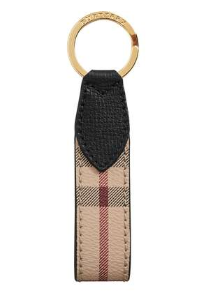 Burberry Haymarket Check and Leather Key Ring - Black