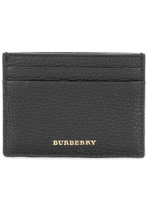 Burberry House Check and Grainy Leather Card Case - Black