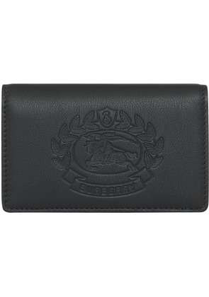 Burberry Small Embossed Crest Two-tone Leather Wallet - Black