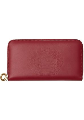 Burberry Embossed Crest Two-tone Leather Ziparound Wallet - Red
