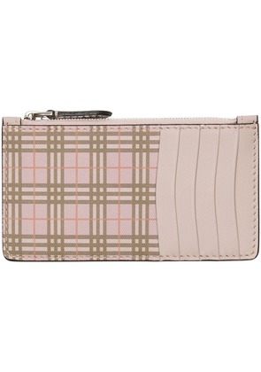 Burberry Small Scale Check and Leather Card Case - Pink & Purple