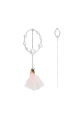 Burberry Faux Pearl and Feather Palladium-plated Drop Earrings - Pink