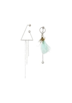 Burberry Triangle and Feather Palladium-plated Drop Earrings -