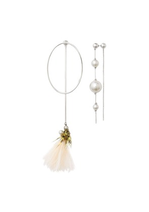 Burberry Faux Pearl and Feather Palladium-plated Drop Earrings -