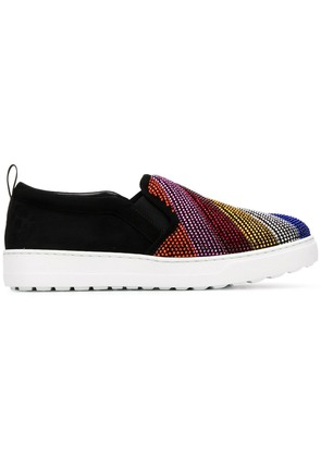 Salvatore Ferragamo Rainbow slip on sneakers - Black