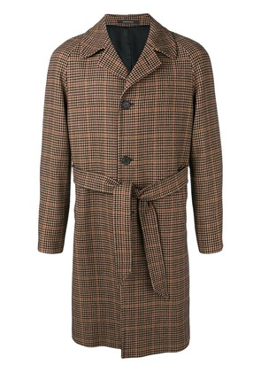 Tagliatore houndstooth belted coat - Nude & Neutrals