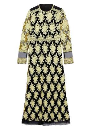 Burberry Floral-embroidered Long-sleeve Dress - Yellow