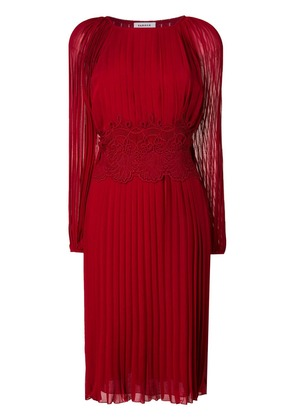 P.A.R.O.S.H. lace detail pleated dress - Red
