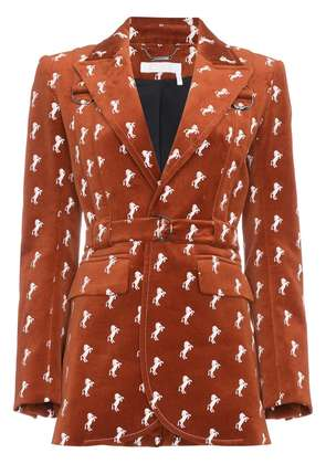 Chloé Velvet jacket with horse embroidery - Brown