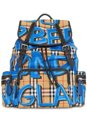 Burberry The Large Rucksack in Graffiti Print Vintage Check - Yellow &