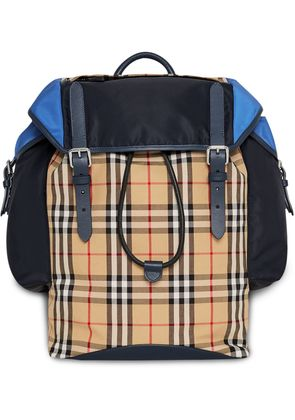 Burberry Colour Block Vintage Check and Leather Ranger Backpack - Blue