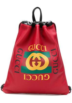 Gucci print drawstring backpack - Red