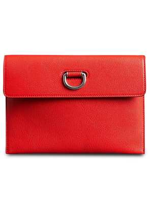 Burberry D-ring Leather Pouch with Zip Coin Case - Red