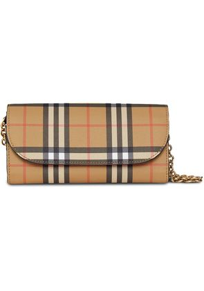 Burberry Vintage Check and Leather Wallet with Chain - Black
