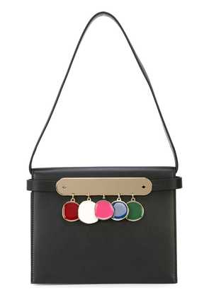 Edie Parker Candy Leather Coins Clutch Black Multi